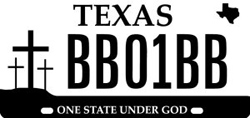 One State Under God Texas license plate